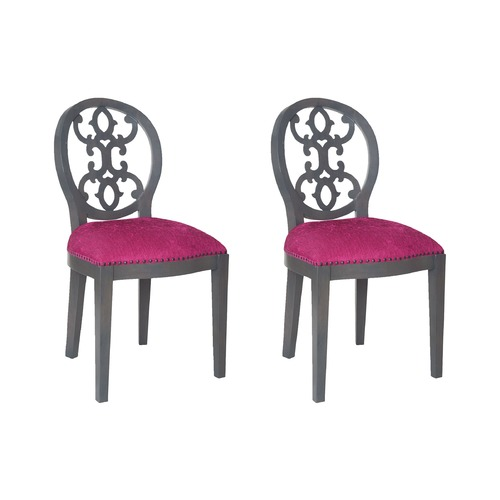 Sterling Lighting Sterling Dimple Chair In Antique Smoke And Cerise Fabric 7011-626