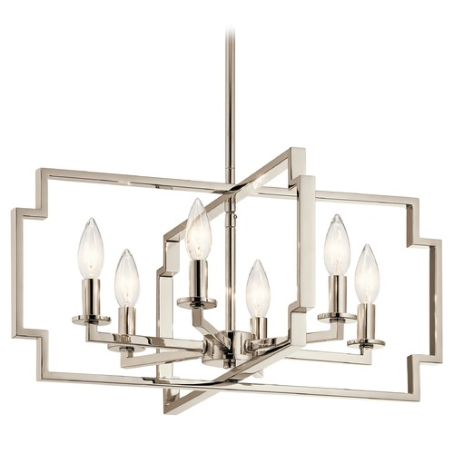 Kichler Lighting Art Deco Chandelier Polished Nickel Downtown Deco by Kichler Lighting 44128PN