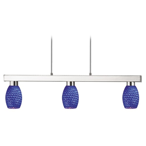 Z-Lite Z-Lite Players Brushed Nickel Billiard Light with Oblong Shade 152BN-131BLUE