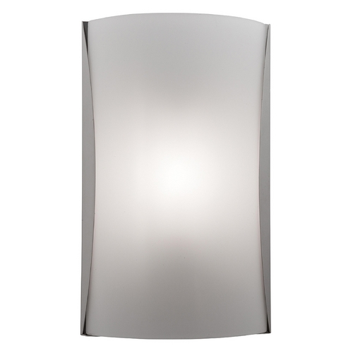 Access Lighting Modern Sconce Wall Light with White Glass in Brushed Steel Finish 62050-BS/OPL