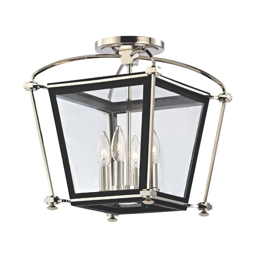 Hudson Valley Lighting Semi-Flushmount Light with Clear Glass in Polished Nickel Finish 3610-PN