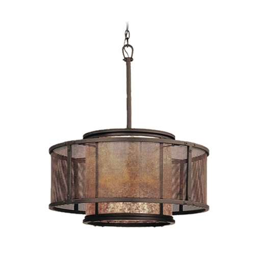 Troy Lighting Pendant Light with Silver Mica Shades in Old Silver Finish F3105