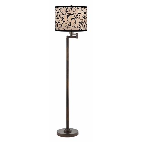 Design Classics Lighting Swing Arm Lamp with Black Shade in Bronze Finish 1901-1-604 SH9515