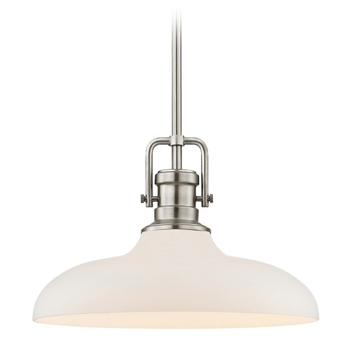 Design Classics Lighting Industrial Pendant Light Satin Nickel Finish  14-Inch Wide 1763-09 G1784-WH