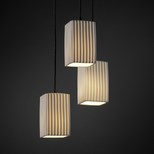 Justice Design Group Justice Design Group Limoges Collection Multi-Light Pendant POR-8864-15-PLET-DBRZ