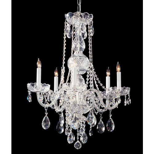 Crystorama Lighting Crystorama Traditional 5-Light Crystal Chandelier in Polished Chrome 1115-CH-CL-SAQ
