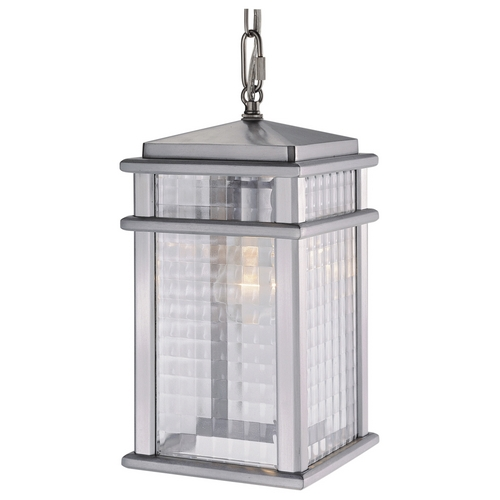Feiss Lighting Outdoor Hanging Light with Clear Glass in Brushed Aluminum Finish OL3411BRAL