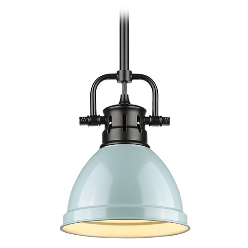 Golden Lighting Golden Lighting Duncan Black Mini-Pendant Light with Seafoam Shade 3604-M1LBLK-SF