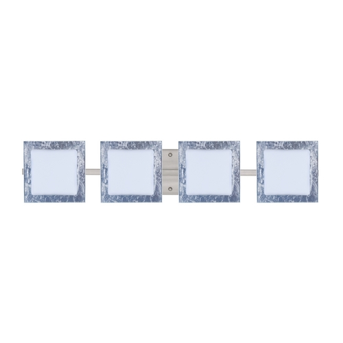 Besa Lighting Modern Bathroom Light Silver Glass Satin Nickel by Besa Lighting 4WS-7735SF-SN