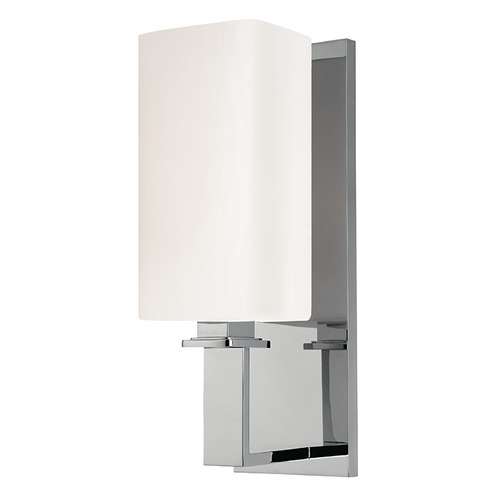 Hudson Valley Lighting Modern Sconce Wall Light with White Shade in Polished Nickel Finish 721-PN