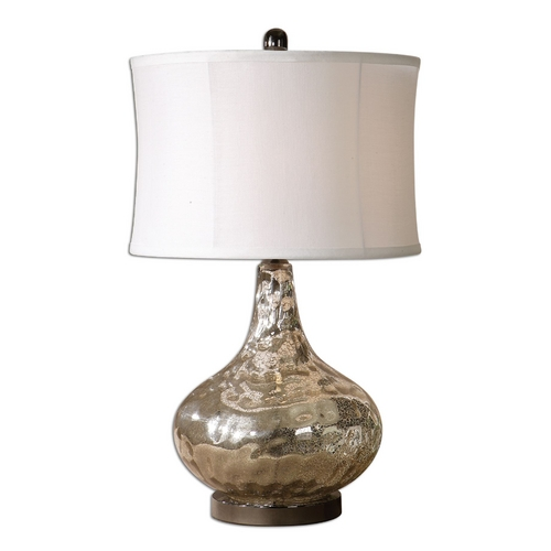 Uttermost Lighting Table Lamp with White Shade in Polished Chrome Finish 26453-1