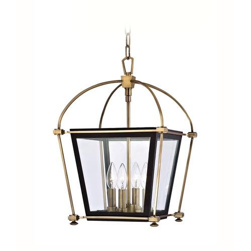 Hudson Valley Lighting Pendant Light with Clear Glass in Aged Brass Finish 3612-AGB