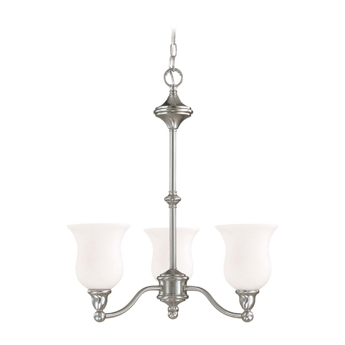 Nuvo Lighting Chandelier with White Glass in Brushed Nickel Finish 60/1801