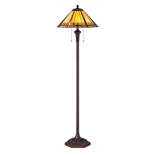 Quoizel Lighting Floor Lamp with Multi-Color Glass in Bronze Patina Finish TF1135F