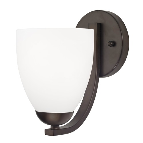 Design Classics Lighting Contemporary Wall Sconce with Satin White Bell Glass Shade in Bronze 585-220 GL1028MB