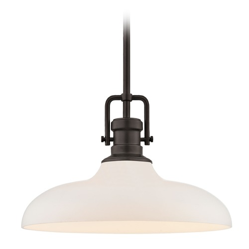 Design Classics Lighting Industrial Pendant Light Bronze Finish  14-Inch Wide 1763-220 G1784-WH