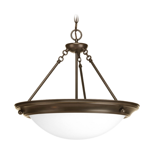 Progress Lighting Pendant Light with White Glass in Antique Bronze Finish P3486-20