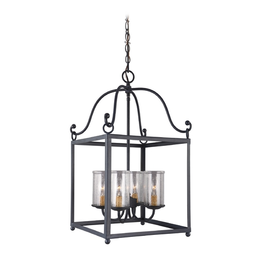 Feiss Lighting Feiss Lighting Declaration Antique Forged Iron Pendant Light with Cylindrical Shade F2907/4AF