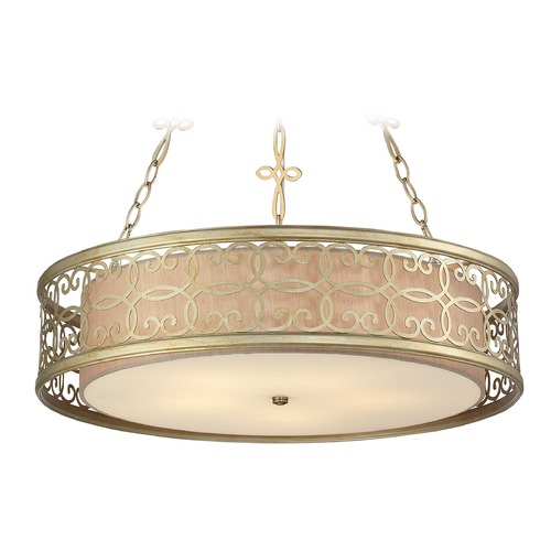 Elk Lighting Elk Lighting Santa Monica Aged Silver Pendant Light with Drum Shade 31524/5