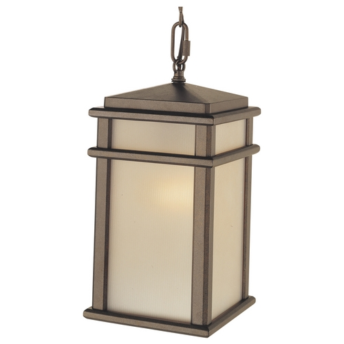 Feiss Lighting Outdoor Hanging Light with Amber Glass in Corinthian Bronze Finish OL3411CB
