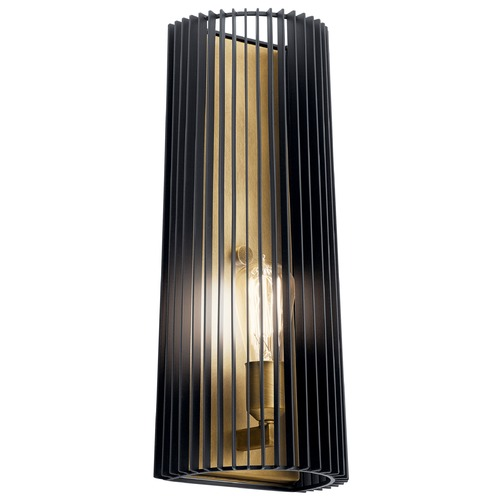 Kichler Lighting Linara Black Sconce with Black Cage and Exposed Bulb 44170BK
