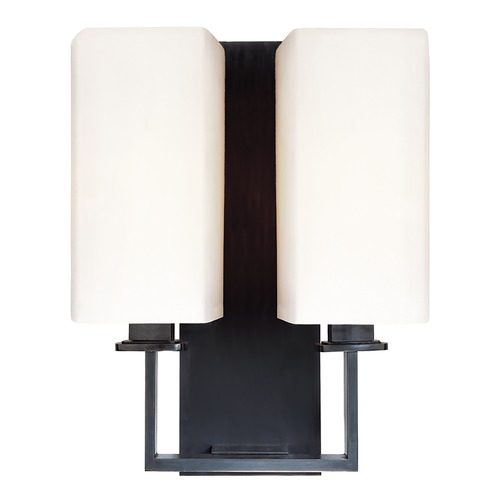 Hudson Valley Lighting Modern Sconce Wall Light with White Shades in Old Bronze Finish 722-OB