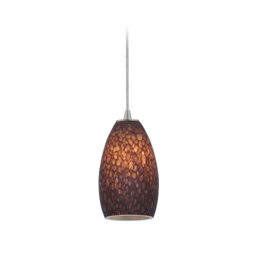 Access Lighting Modern Mini-Pendant Light with Brown Glass 28012-2C-BS/BRST