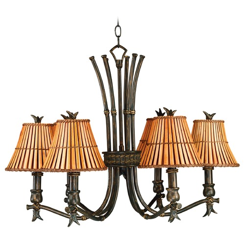 Kenroy Home Lighting Chandelier with Brown Bamboo Shades in Bronze Heritage Finish 90456BH