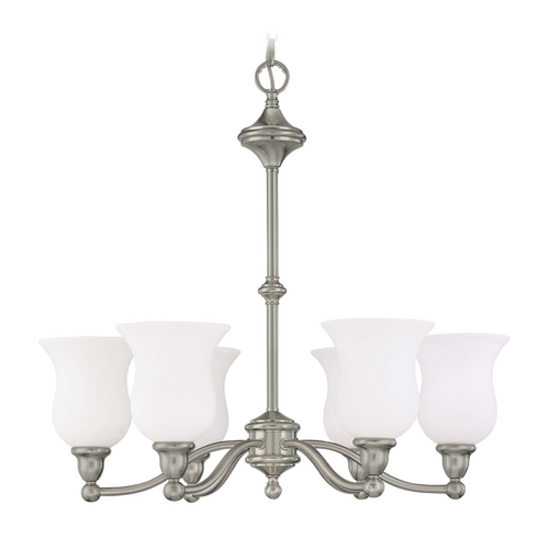 Nuvo Lighting Chandelier with White Glass in Brushed Nickel Finish 60/1802