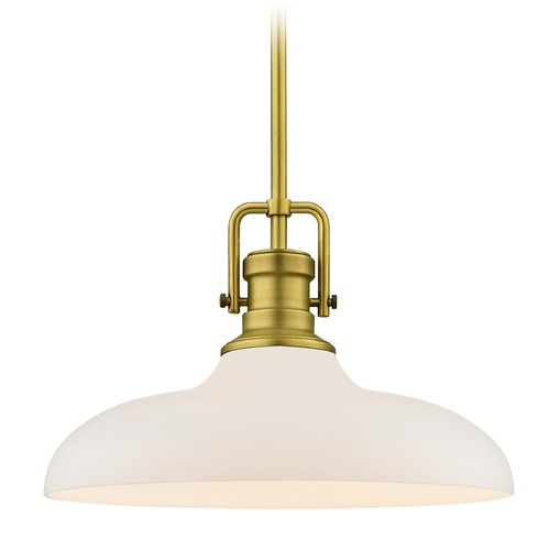 Design Classics Lighting Farmhouse Pendant Light Brass Finish 14-Inch Wide 1763-12 G1784-WH