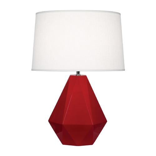 Robert Abbey Lighting Modern Art Deco Table Lamp Ruby Red / Polished Nickel Delta by Robert Abbey RR930