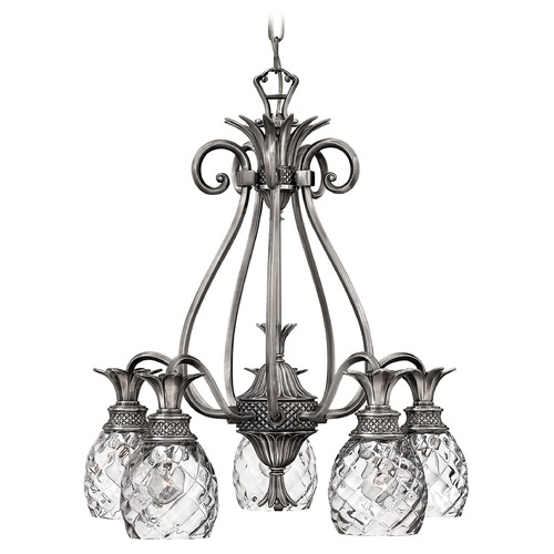 Hinkley 5-Light Polished Antique Nickel Pineapple Chandelier with Clear Glass 4885PL