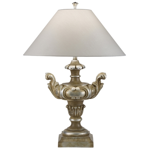 Fine Art Lamps Fine Art Lamps Recollections Antiqued, Gold-Stained Silver Leaf Table Lamp with Coolie Shade 827810ST