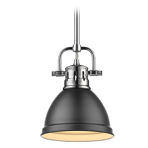 Golden Lighting Golden Lighting Duncan Chrome Mini-Pendant Light with Matte Black Shade 3604-M1LCH-BLK