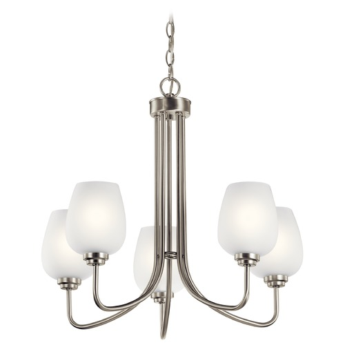 Kichler Lighting Valserrano 5-Light Brushed Nickel Chandelier with Satin Etched Glass Shade 44377NI