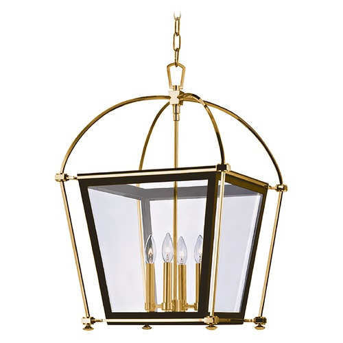 Hudson Valley Lighting Pendant Light with Clear Glass in Aged Brass Finish 3618-AGB