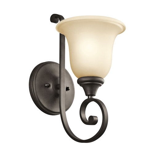Kichler Lighting Kichler Sconce Wall Light with Amber Glass in Olde Bronze Finish 43170OZ