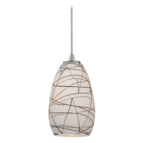 Access Lighting Modern Mini-Pendant Light with White Glass 28012-2C-BS/BLWH