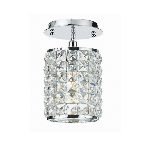 Crystorama Lighting Crystal Semi-Flushmount Light with Clear Glass in Polished Chrome Finish 800-CH-CL-MWP