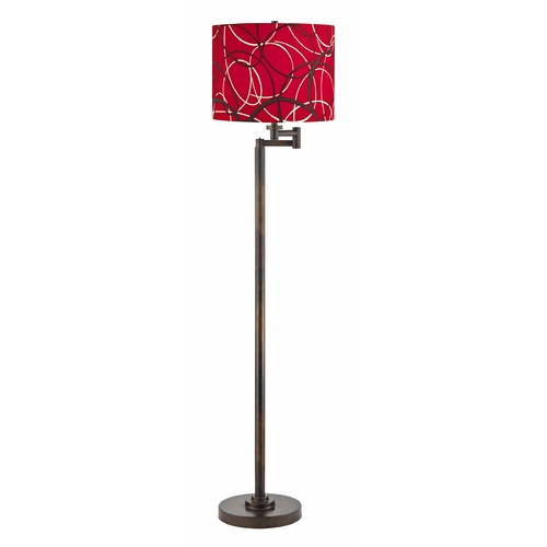 Design Classics Lighting Swing Arm Lamp with Red and Grey Shade in Bronze Finish 1901-1-604 SH9518