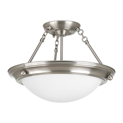 Progress Lighting Semi-Flushmount Light with White Glass in Brushed Nickel Finish P3567-09