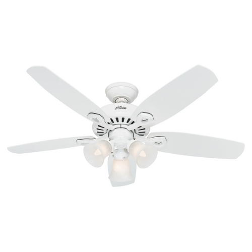 Hunter Fan Company Hunter Fan Company Builder Small Room Snow White Ceiling Fan with Light 52105