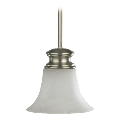 Quorum Lighting Quorum Lighting Madison Satin Nickel Mini-Pendant Light with Bell Shade 3274-65