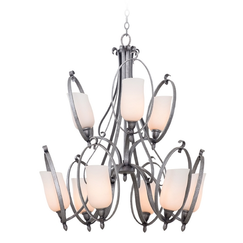 Kalco Lighting Kalco Lighting Mateo Flecked Iron Chandelier 7241FI/OPAL