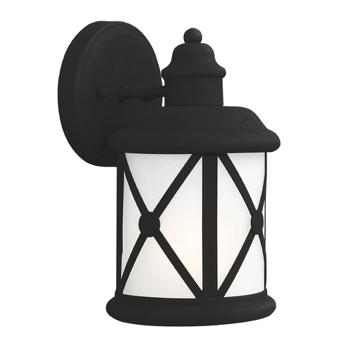 Sea Gull Lighting Etched Seeded Glass Outdoor Wall Light Black Sea Gull Lighting 8521401BLE-12