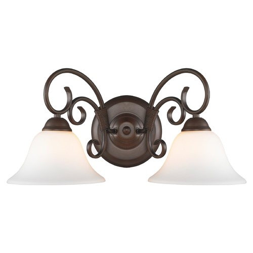 Golden Lighting Golden Lighting Homestead Rubbed Bronze Bathroom Light 8606-BA2 RBZ-OP