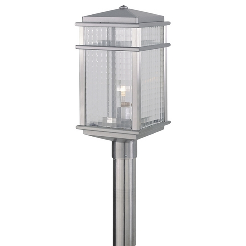 Feiss Lighting Post Light with Clear Glass in Brushed Aluminum Finish OL3407BRAL