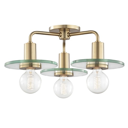 Mitzi by Hudson Valley Mid-Century Modern Brass Semi-Flush Ceiling Light Mitzi by Hudson Valley H113603-AGB