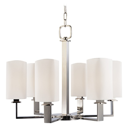 Hudson Valley Lighting Modern Chandelier with White Shades in Old Bronze Finish 726-OB