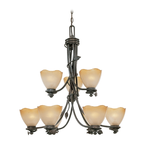 Designers Fountain Lighting Chandelier with Beige / Cream Glass in Old Bronze Finish 95689-OB